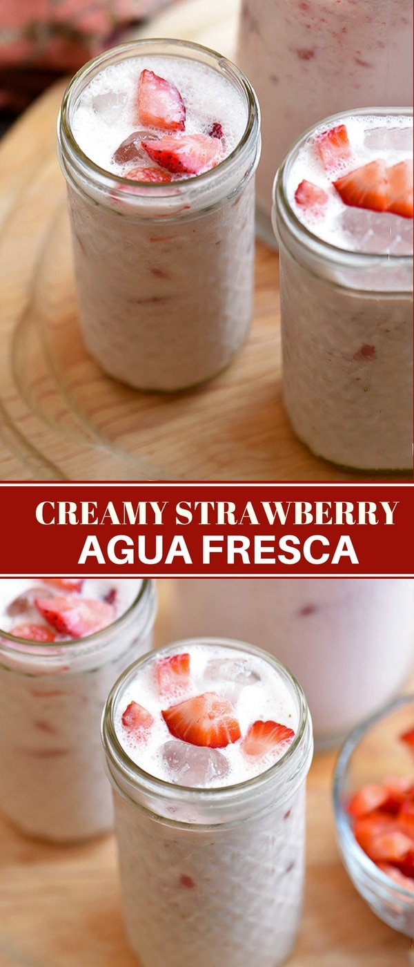 strawberry aqua fresca with milk in clear serving glasses and pitcher