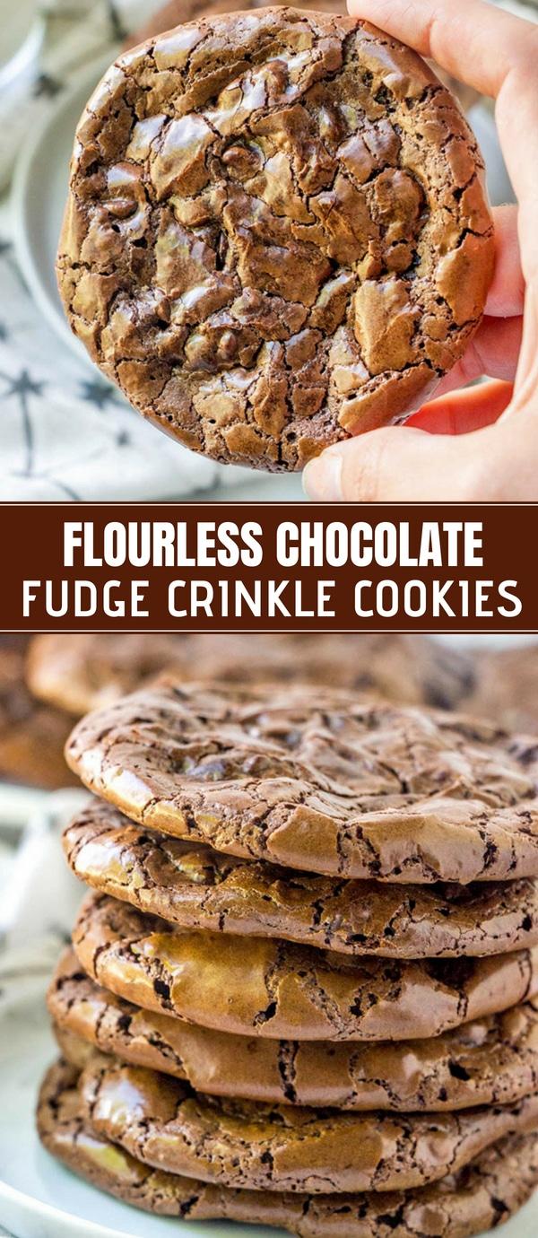 Flourless Chocolate Fudge Crinkle Cookies on a plate