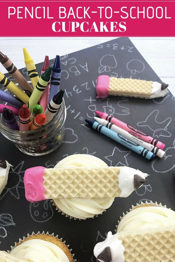 pencil design back-to-school cupcakes decorated with candy-coated sugar wafer cookies