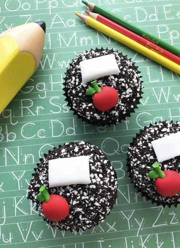 Composition Notebook-inspired Back-to-School Cupcakes and pencils on scrapbooking paper