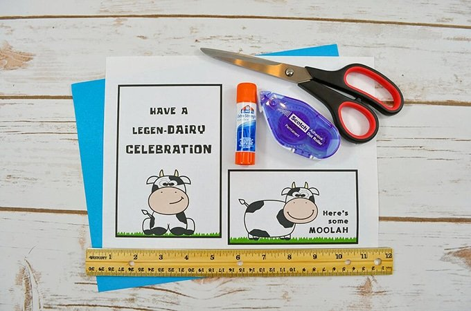 Card Stock Paper Ruler Scissors Glue Tape Cow Printable For Making