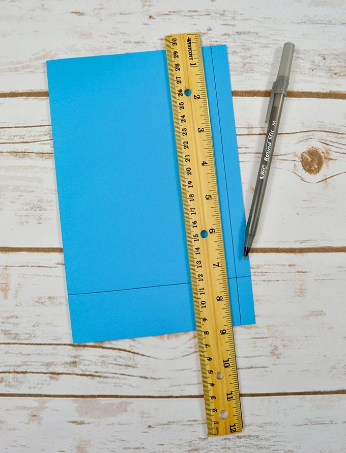 measuring card stock paper with ruler to make DIY birthday gift
