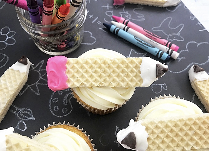 Pencil Back-to-School Cupcakes with crayons on the side