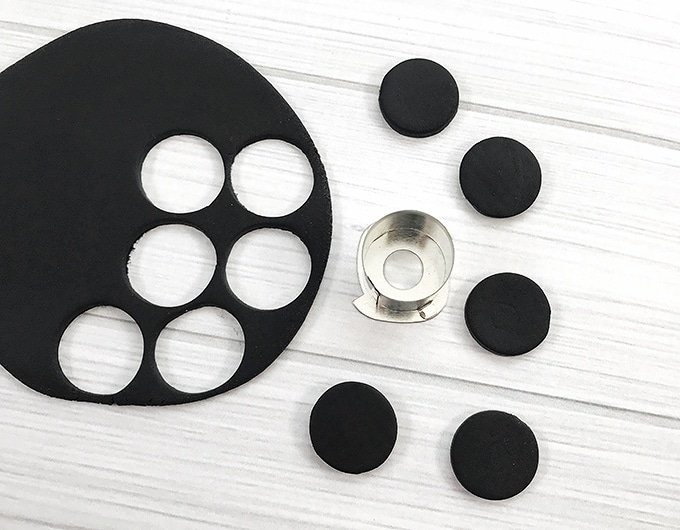 rolled out black fondant cut into small circles using cookie cutter