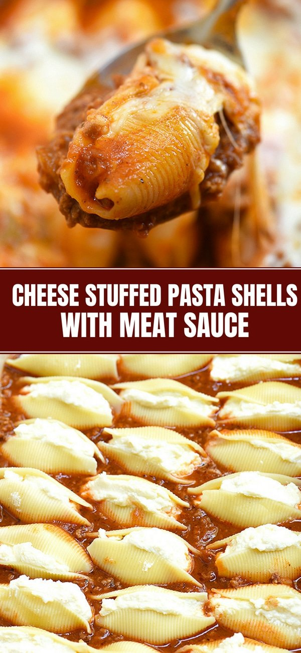 Stuffed Pasta Shells with Ricotta filling and meat sauce