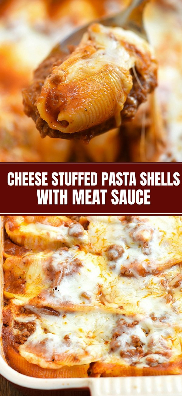 Cheese Stuffed Pasta Shells with Meat Sauce in casserole dish