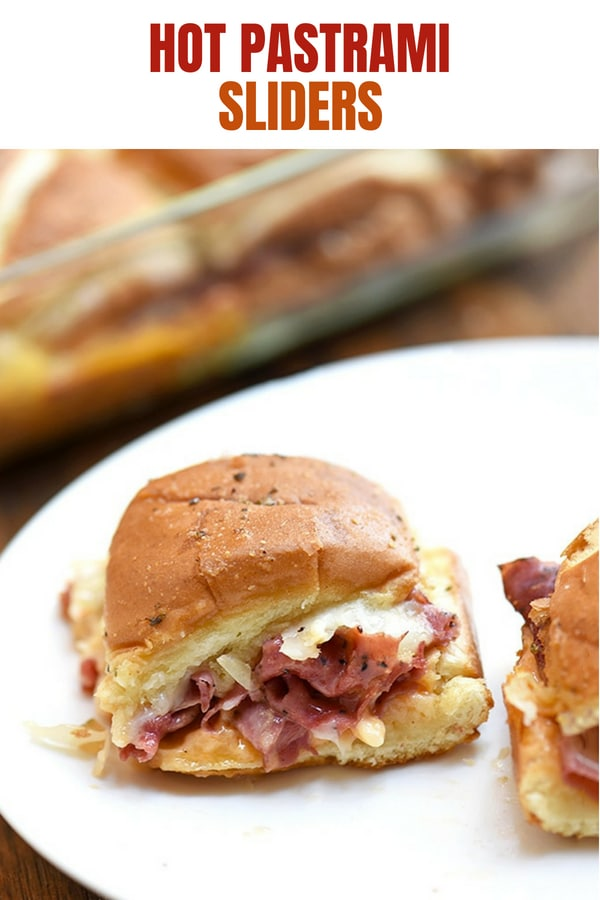 Hot Pastrami Sandwich Sliders on a white plate