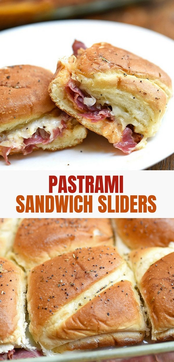 Hot Pastrami sandwich sliders on a serving plate