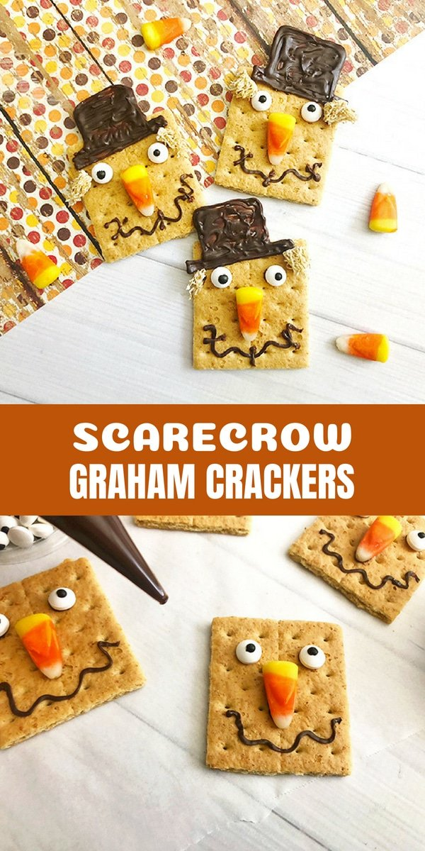 Scarecrow Graham Crackers are a fun food idea perfect for any Fall or Halloween party. They're fun to make and super cute!