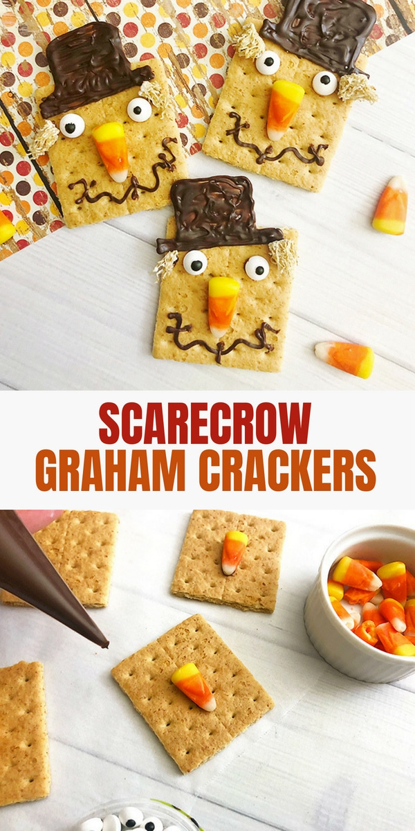 graham crackers decorated as scarecrows with candy corn, melted chocolate and mini wheaties