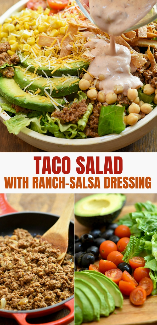 chopped romaine lettuce, cherry tomatoes, black olives, and sliced avocados on a wood cutting board for taco salsa