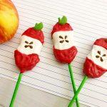Apple Core Back-to-School Cookie Pops on green lollipop sticks