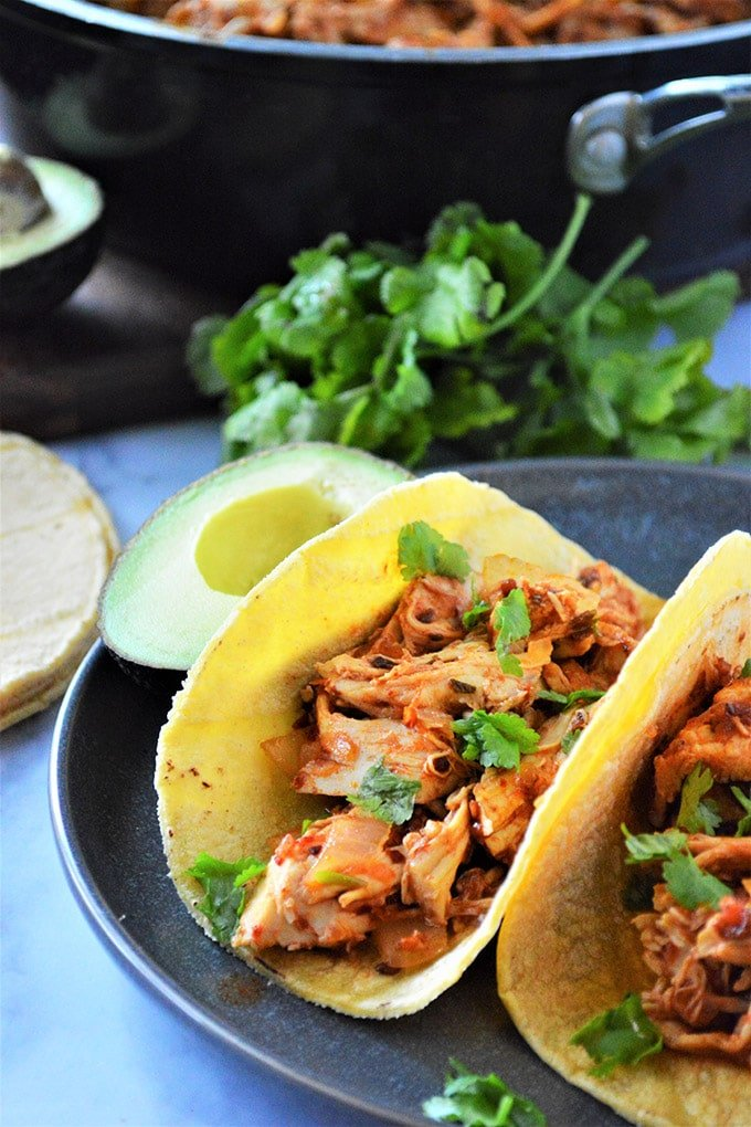 chicken tinga tacos with cilantro