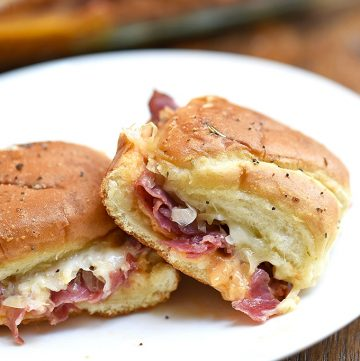 Hot Pastrami Sliders on a serving plate