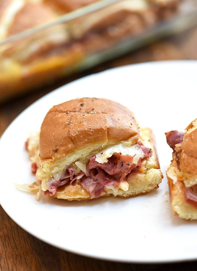 These hot pastrami sliders are so flavorful with sauerkraut and thousand island dressing.