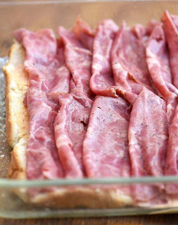 Layers of pastrami give these sandwiches their meaty, satisfying flavor.