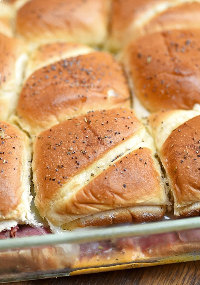 The buns for these pastrami sliders bake up golden and delicious.