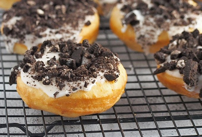 yeast donuts with vanilla glaze and crushed Oreo topping