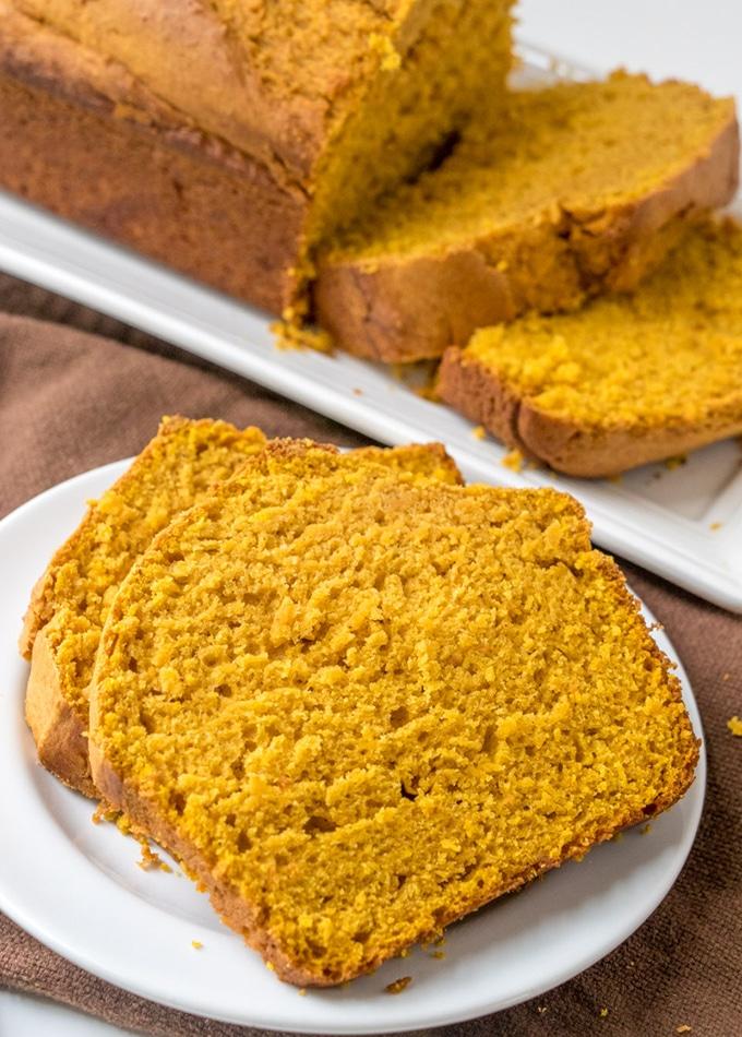 pumpkin loaf slices on a serving plate