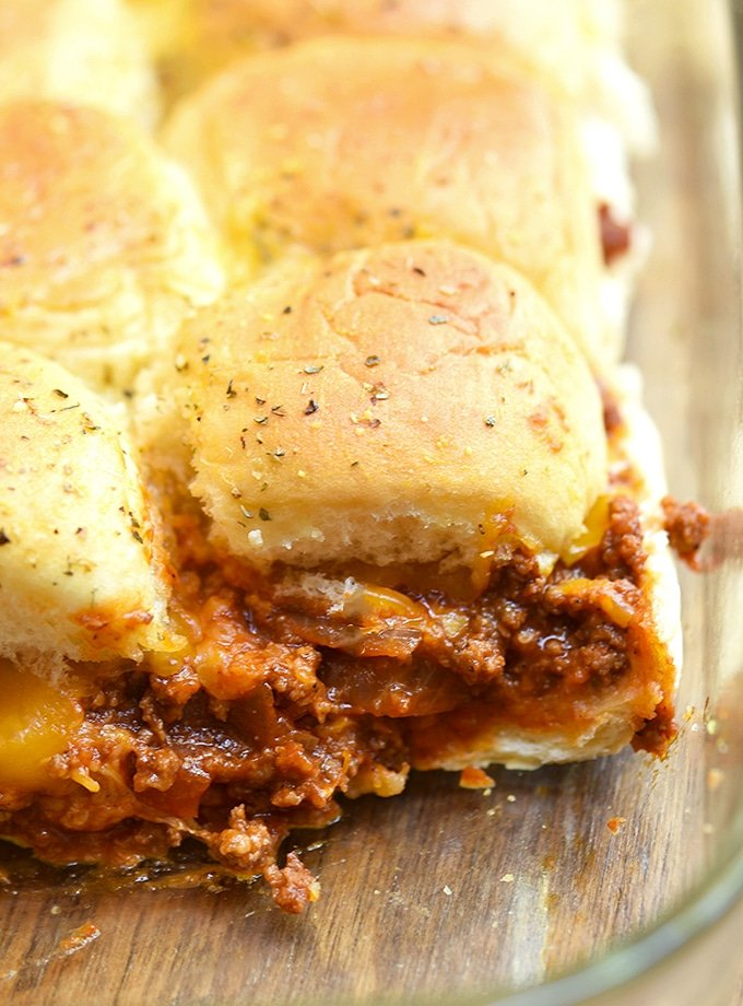 sloppy joe sliders in a glass baking dish