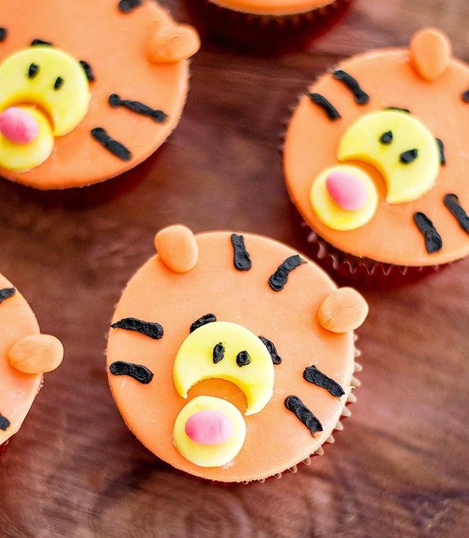 Tigger Cupcakes made with vanilla cupcakes and fondant