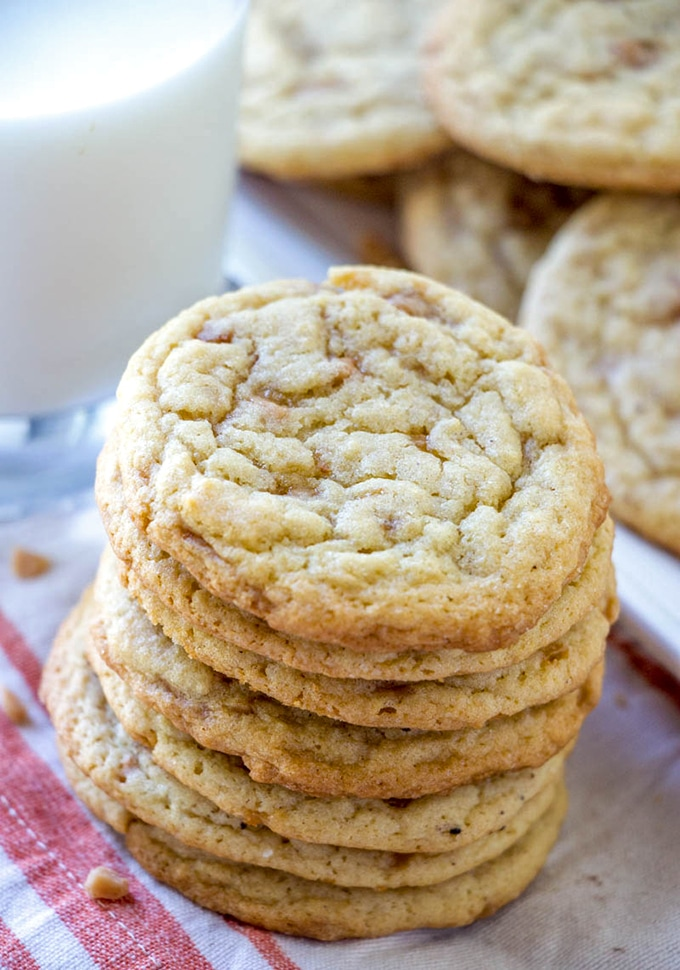 stacked Toffee Drop Cookies