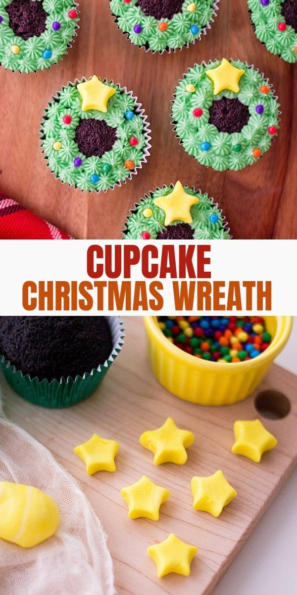 chocolate cupcakes decorated as Christmas wreaths