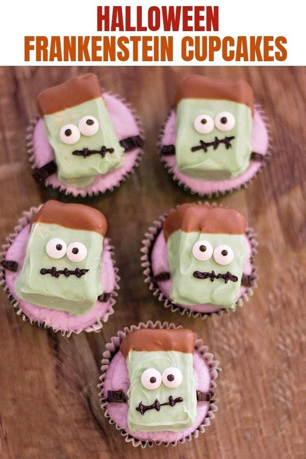 Halloween Franskenstein Cupcakes on a wood board