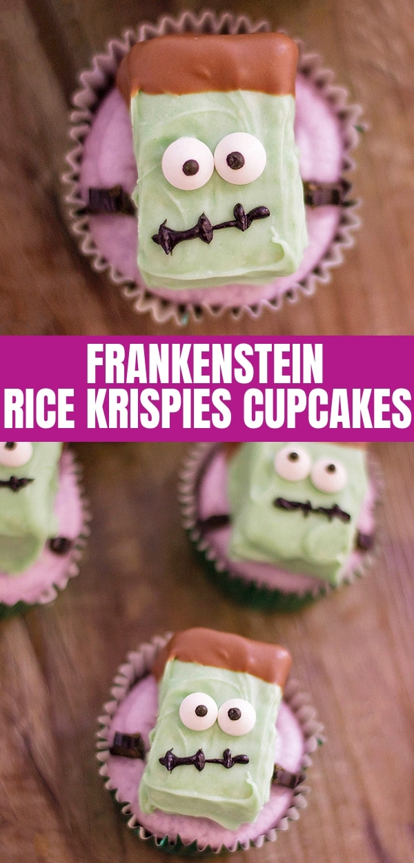 Frankenstein Rice Krispies Cupcakes