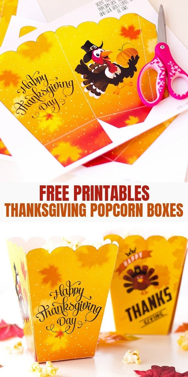 Thanksgiving Popcorn Boxes free printables