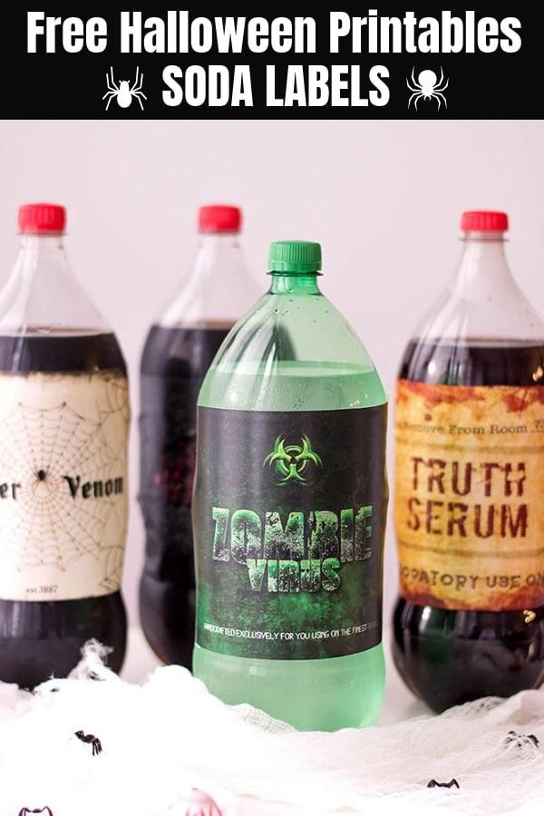 Halloween Soda Labels  on assorted 2-liter soda bottles