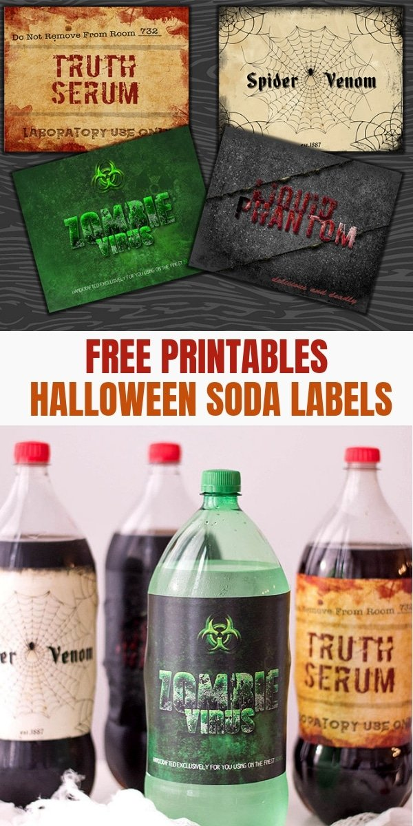 Halloween Soda Labels on assorted 2-liter soda bottles
