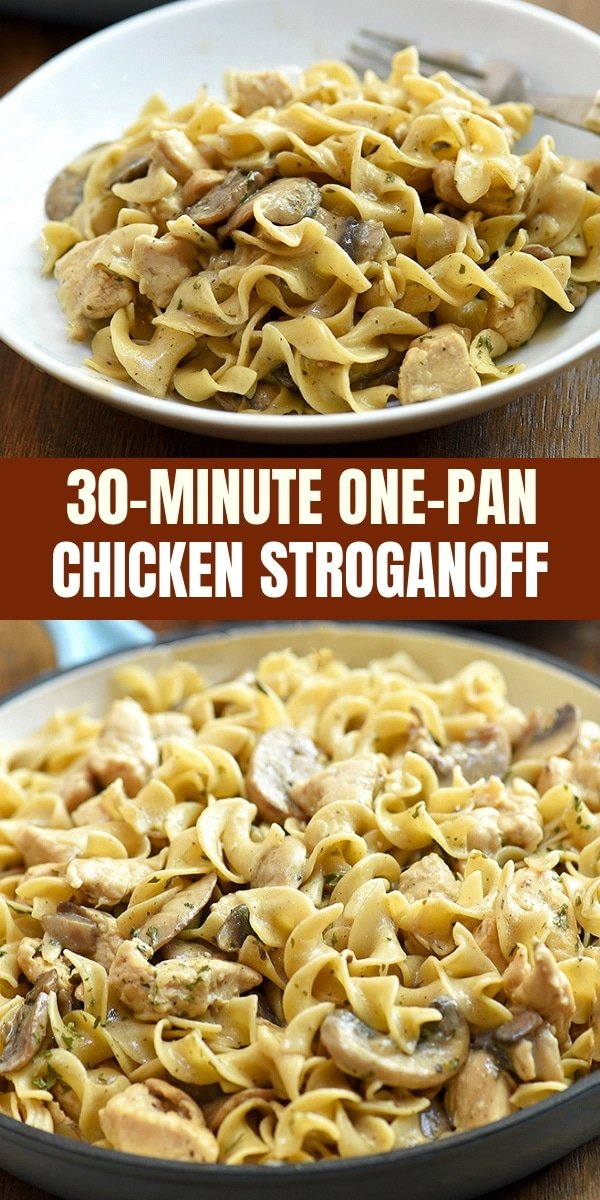 One-Pan Chicken Stroganoff with moist chicken, egg noodles, sauteed mushrooms in a creamy sour cream sauce is hearty, tasty, and the ultimate comfort food. Quick and easy to make in 30 minutes and in one pan!