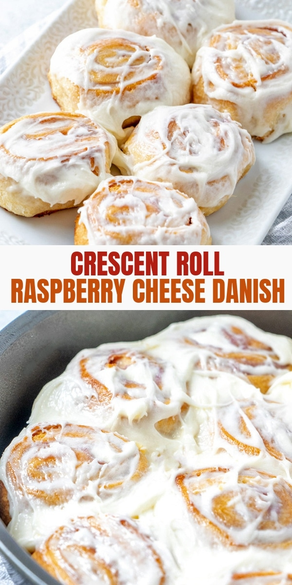 Crescent Roll Danishes with raspberry cheese filling and cream cheese frosting