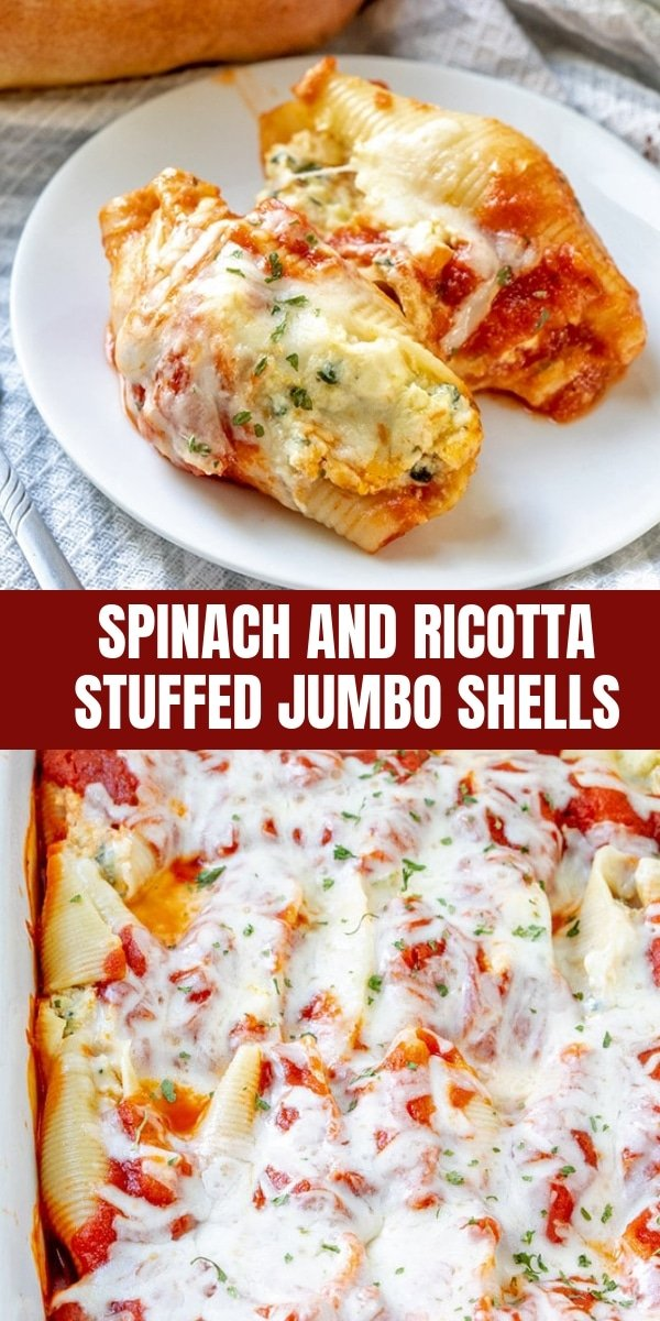 Spinach and Ricotta Stuffed Jumbo Shells on a white plate
