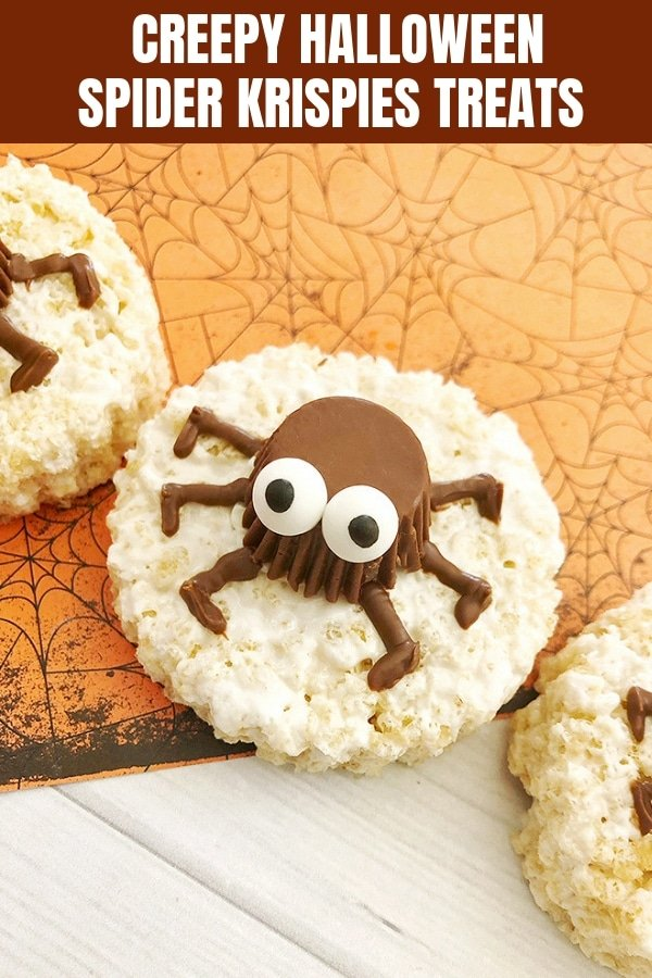 round rice krispies treats with spider peanut butter cup on top