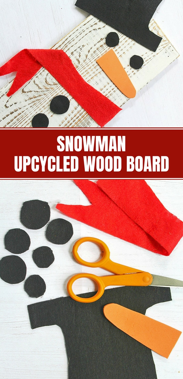 DIY Snowman Wooden Board Decor made with painted wood and craft felt