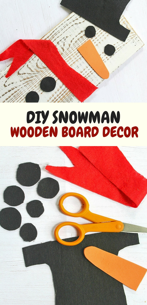 Upcycled Snowman Wooden Board Decor made with painted scrap wood and craft felt