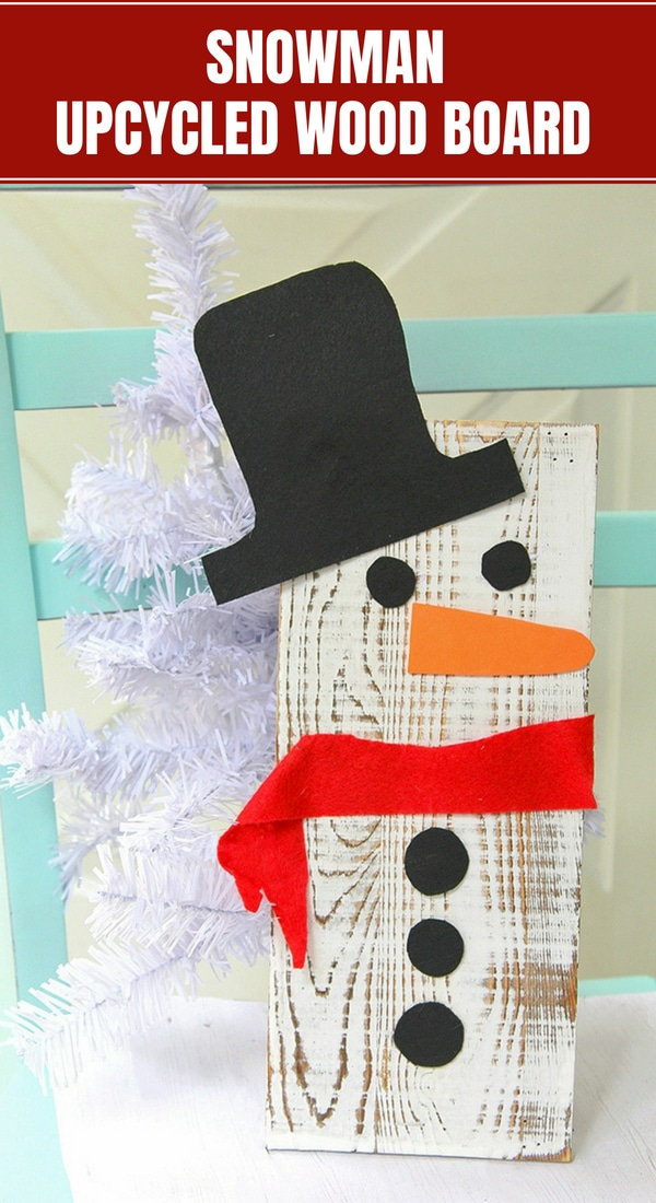 DIY Snowman Wood Board Decor on display