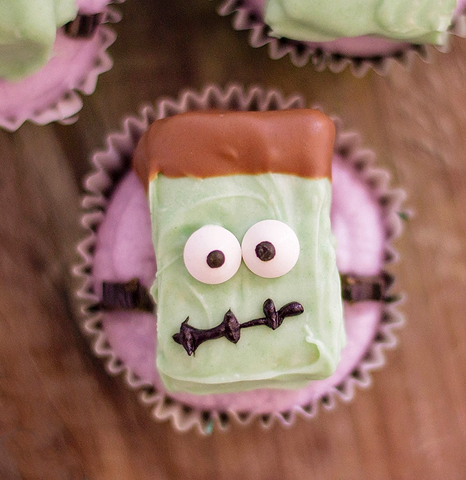 Halloween cupcakes decorated with Frankenstein rice krispies treats