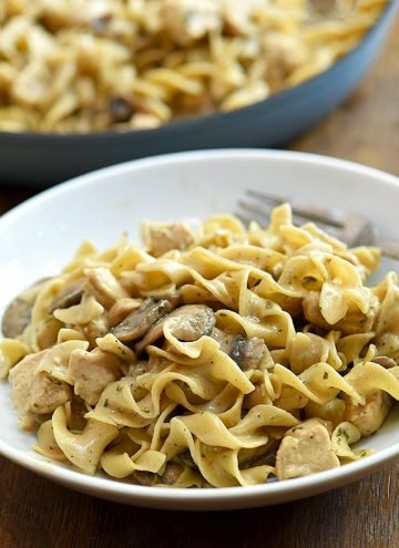 Chicken Stroganoff on a white serving plate