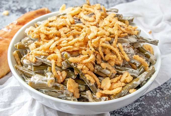Green Bean Casserole topped with french fried onions