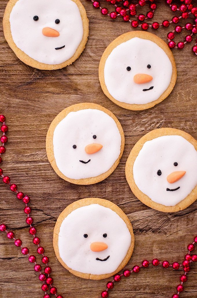 snowman-decorated sugar cookies