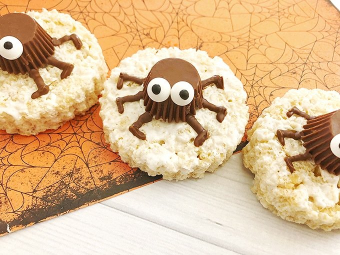 Spooky Spider Rice Krispies Treats on a white board
