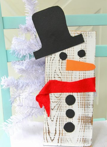 Upcycled Snowman Wooden Board Decor