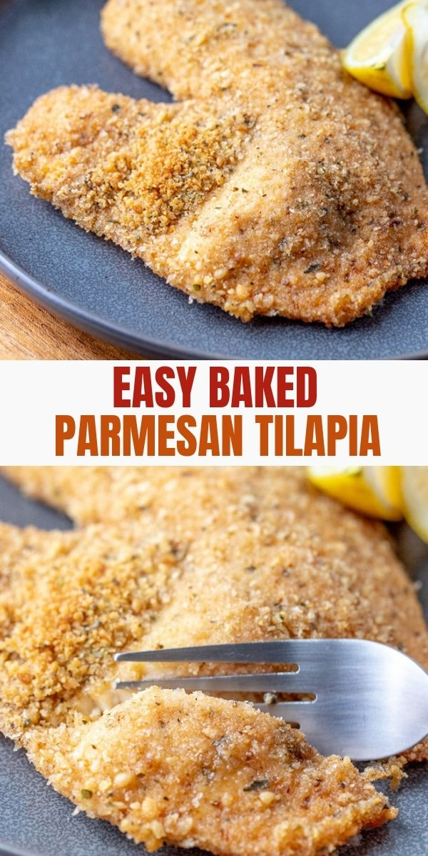 Parmesan  Crusted Tilapia on a serving plate with lemon wedges