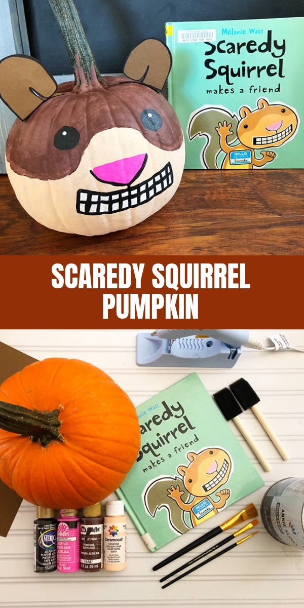 Scaredy Squirrel decorated pumpkin