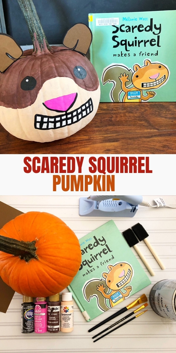 pumpkin decorated as scaredy squirrel