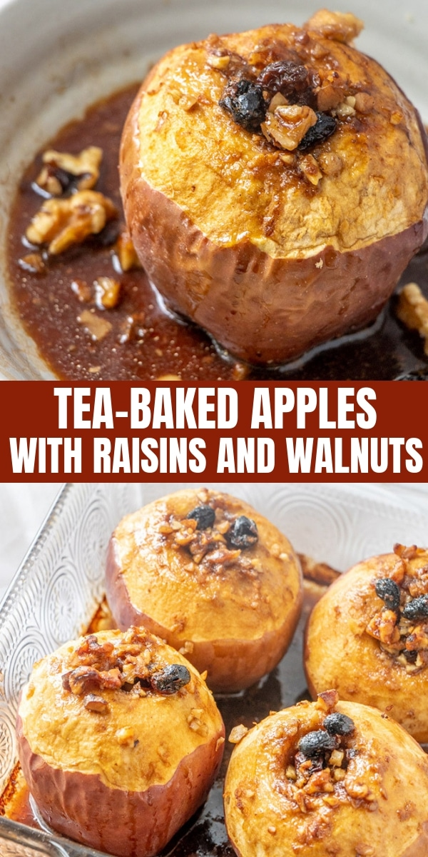 Tea-Baked Apples in a clear baking dish