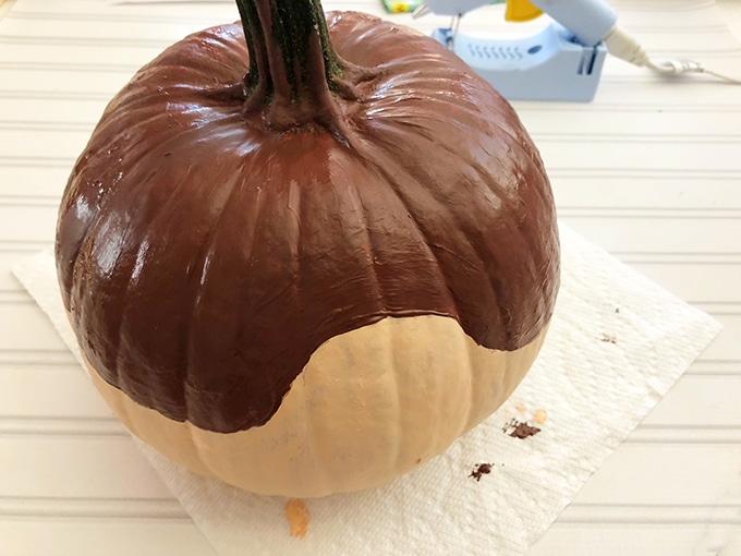 pumpkin painted half brown and half tan to make scaredy squirrel design